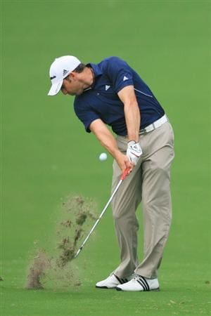 FORT WORTH, TX - MAY 20: Sergio Garcia of Spain hits his second shot on the 18th hole during the second round of the Crowne Plaza Invitational at Colonial Country Club on May 20, 2011 in Fort Worth, Texas. (Photo by Hunter Martin/Getty Images)