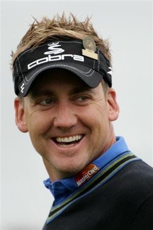 PEBBLE BEACH, CA - JUNE 15:  Ian Poulter of England smiles as he looks on during a practice round prior to the start of the 110th U.S. Open at Pebble Beach Golf Links on June 15, 2010 in Pebble Beach, California.  (Photo by Andrew Redington/Getty Images)