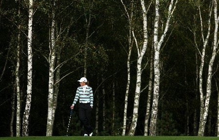 HALMSTAD, SWEDEN - SEPTEMBER 14:  Gwladys Nocera of Europe waits on the 11th hole during the afternoon fourball at the Solheim Cup at Halmstad Golf Club on September 14, 2007 in Halmstad, Sweden.  (Photo by Jonathan Ferrey/Getty Images)