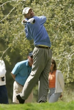 LIVERMORE, CA - APRIL 04: Joel Kribel hits his tee shot off the 4th tee during the second round of the 2008 Livermore Valley Wine Country Championship on April 04, 2008 at the Wente Vineyard in Livermore, California. (Photo By Kent Horner/ Getty Images)