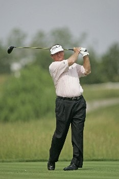 Bobby Wadkins hits a drive during the first round of the Champions Tour at the Bayer Advantage Classic in Overland Park, KS on June 10, 2005.Photo by G. Newman Lowrance/WireImage.com