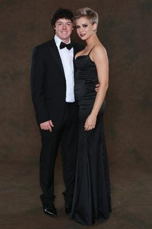 NEWPORT, WALES - SEPTEMBER 29:  Rory McIlroy of the European Ryder Cup team poses with his partner Holly Sweeney prior to the 2010 Ryder Cup Dinner at the Celtic Manor Resort on September 29, 2010 in Newport, Wales.  (Photo by David Cannon/Getty Images)