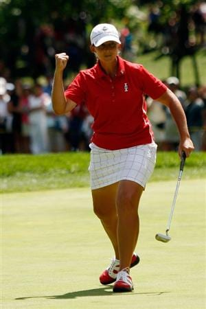 SUGAR GROVE, IL - AUGUST 23:  Angela Stanford of the U.S. Team celebrates after making a putt on the 12th hole during  the 2009 Solheim Cup at Rich Harvest Farms on August 23, 2009 in Sugar Grove, Illinois.  (Photo by Chris Graythen/Getty Images)