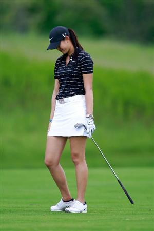 GLADSTONE, NJ - MAY 21:  Michelle Wie reacts after hitting her second shot to the 17th hole in round three of the Sybase Match Play Championship at Hamilton Farm Golf Club on May 21, 2011 in Gladstone, New Jersey.  (Photo by Chris Trotman/Getty Images)