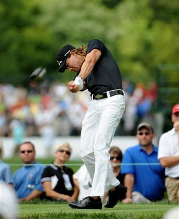 ST. LOUIS - SEPTEMBER 6: Camilo Villegas tees off the 5th hole during the second round of the BMW Championship held at Bellerive Country Club on September 6, 2008 in St. Louis, Missouri. (Photo by Marc Feldman/Getty Images)