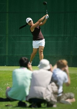 EVIAN, FRANCE - JULY 29:  Jeong Jang of South Korea hits her tee shot on the 6th hole while being photographed during the final round of The Evian Masters on July 29, 2007 in Evian, France.  (Photo by Andy Lyons/Getty Images)
