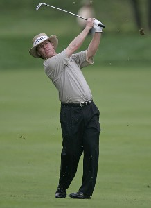 Briny Baird hits his approach shot on the 5th hole during the third round of the 84 LUMBER Classic held on the Mystic Rock Course at Nemacolin Woodlands Resort & Spa in Farmington, Pennsylvania, on September 16, 2006.Photo by Hunter Martin/WireImage.com