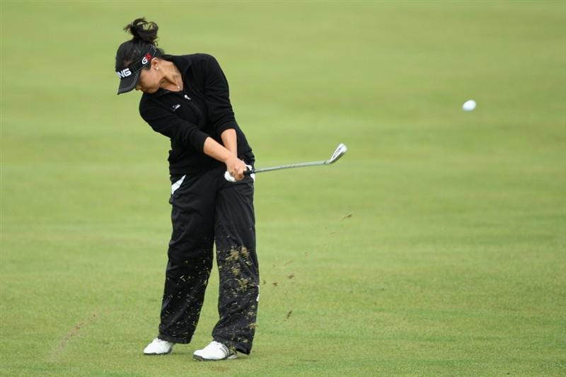 LYTHAM ST ANNES, ENGLAND - AUGUST 01:  Jane Park  of USA hits her second shot to the 2nd hole during the third round of the 2009 Ricoh Women's British Open Championship held at Royal Lytham St Annes Golf Club, on August 1, 2009 in Lytham St Annes, England.  (Photo by David Cannon/Getty Images)