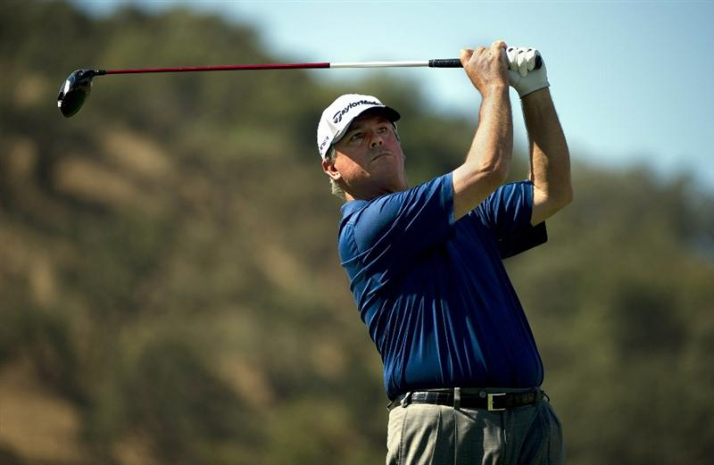 SAN MARTIN, CA - OCTOBER 14:  Paul Goydos makes a tee shot on the ninth hole during the first round of the Frys.com Open at the CordeValle Golf Club on October 14, 2010 in San Martin, California.  (Photo by Robert Laberge/Getty Images)