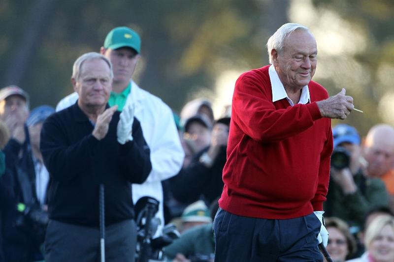 AUGUSTA, GA - APRIL 07:  Arnold Palmer (R) and Jack Nicklaus wait on the first tee prior to starting the first round of the 2011 Masters Tournament at Augusta National Golf Club on April 7, 2011 in Augusta, Georgia.  (Photo by Jamie Squire/Getty Images)