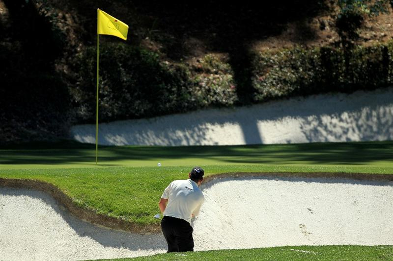 AUGUSTA, GA - APRIL 07:  Lee Westwood of England watches his bunker shot on the 12th hole during the first round of the 2011 Masters Tournament at Augusta National Golf Club on April 7, 2011 in Augusta, Georgia.  (Photo by David Cannon/Getty Images)