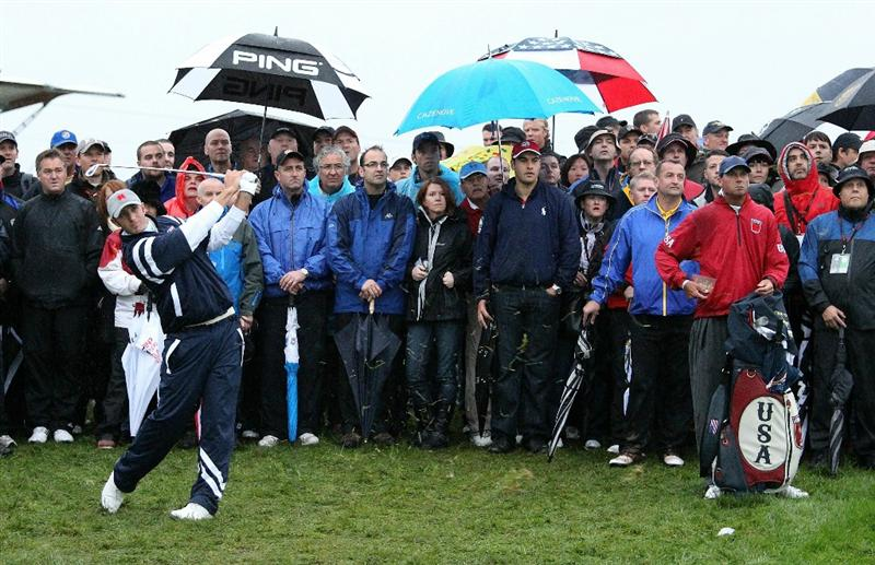 NEWPORT, WALES - OCTOBER 01:  Dustin Johnson of the USA hits his 2nd shot on the 1st hole during the Morning Fourball Matches during the 2010 Ryder Cup at the Celtic Manor Resort on October 1, 2010 in Newport, Wales. (Photo by Ross Kinnaird/Getty Images)