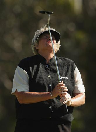MELBOURNE, AUSTRALIA - FEBRUARY 15:  Laura Davies of England shows her dissappointment at making bogey on the 18th during day four of the 2009 Women's Australian Open held at the Metropolitan Golf Club on February 15, 2009 in Melbourne, Australia.  (Photo by Mark Dadswell/Getty Images)