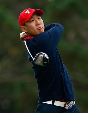 SAN FRANCISCO - OCTOBER 11:  Anthony Kim of the USA Team watches his tee shot on the 12th hole during the Final Round Singles Matches of The Presidents Cup at Harding Park Golf Course on October 11, 2009 in San Francisco, California.  (Photo by Scott Halleran/Getty Images)