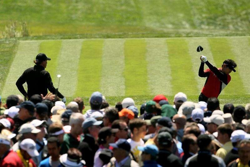 PEBBLE BEACH, CA - JUNE 17:  Y.E. Yang of South Korea hits his tee shot on the fourth hole during the first round of the 110th U.S. Open at Pebble Beach Golf Links on June 17, 2010 in Pebble Beach, California.  (Photo by Jeff Gross/Getty Images)