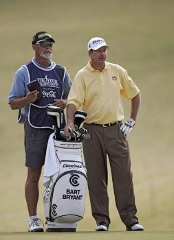 Bart Bryant and his caddie on the eighth fairway during the third round of THE TOUR Championship at East Lake Golf Club in Atlanta, Georgia on November 5, 2005.Photo by Sam Greenwood/WireImage.com