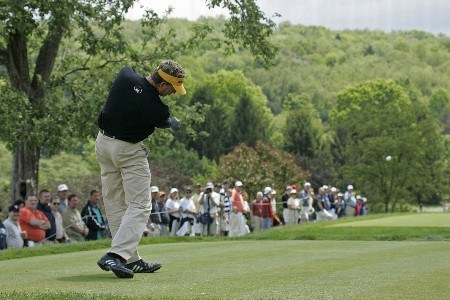 Dana Quigley tees off on #10 in the final round of the 2005 Senior PGA Championship at Laurel Valley Golf Club - Ligonier, Pennsylvania. May 29, 2005Photo by Christopher Condon/WireImage.com
