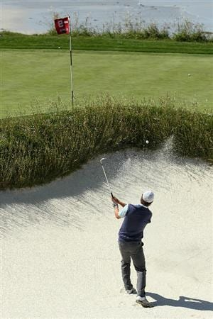 PEBBLE BEACH, CA - JUNE 16:  Pablo Martin of Spain hits a shot from a bunker during a practice round prior to the start of the 110th U.S. Open at Pebble Beach Golf Links on June 16, 2010 in Pebble Beach, California.  (Photo by Jeff Gross/Getty Images)