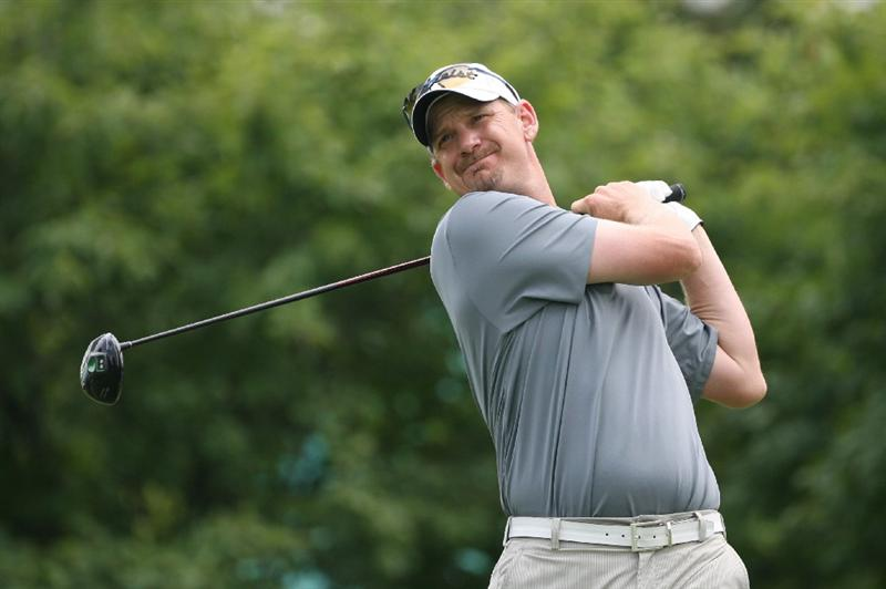 COLUMBUS, OH - AUGUST 02 : Tom Gillis hits his tee shot on the first hole during the final round of the Nationwide Children's Hospital Invitational at The Ohio State Golf Club on August 2, 2009 in Columbus, Ohio. (Photo by Hunter Martin/Getty Images)