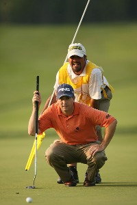 Charles Warren lines up a putt on the 18th hole during the third round of the Turning Stone Resort Championship at Atunyote Golf Club September 22, 2007 in Verona, New York. PGA TOUR - 2007 Turning Stone Resort Championship - Third RoundPhoto by Mike Ehrmann/WireImage.com
