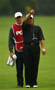 NORTHAMPTON, UNITED KINGDOM - MAY 30:  Bill McColl lines up a putt on the 2nd hole during the Senior PGA Professional Championships at Northampton County Golf Club on May 30, 2008 in Northampton, England.  (Photo by Matthew Lewis/Getty Images)