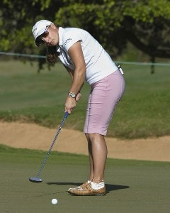 Kelli Kuehne lines up a putt on the first green during  the second round  at the 2006 SBS Open at Turtle Bay February 17 at Kahuku, Hawaii.Photo by Al Messerschmidt/WireImage.com