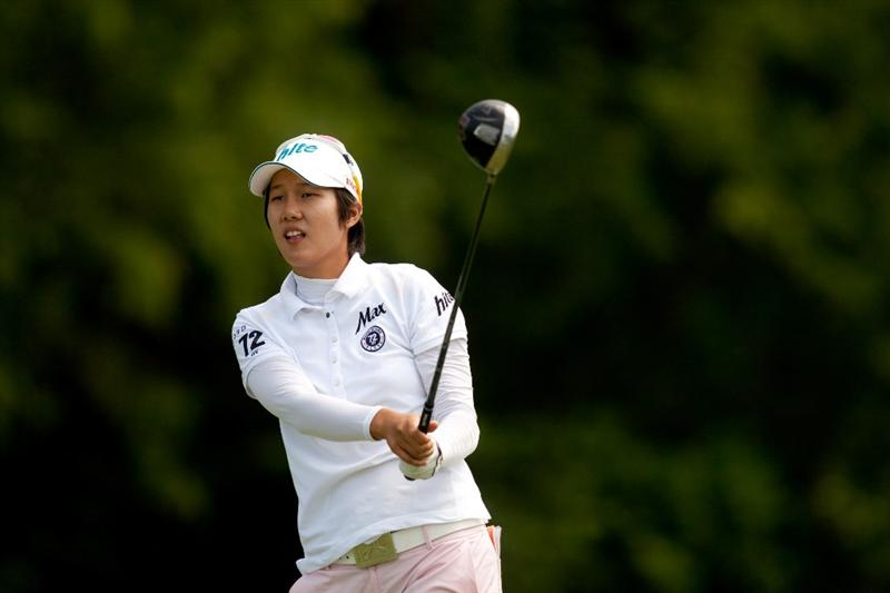 SPRINGFIELD, IL - JUNE 10: Song-Hee Kim of South Korea follows through on a tee shot during the first round of the LPGA State Farm Classic at Panther Creek Country Club on June 10, 2010 in Springfield, Illinois. (Photo by Darren Carroll/Getty Images)