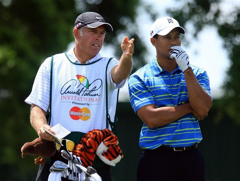 ORLANDO, FL - MARCH 26:  Tiger Woods chats with his caddie Steve Williams on the second tee during the first round of the Arnold Palmer Invitational at the Bay Hill Club & Lodge on March 26, 2009 in Orlando, Florida.  (Photo by Scott Halleran/Getty Images)