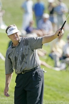 Peter Jacobsen in action during the final round of the FORD Senior Players Championship, July 10,2005, held at  the TPC of Michigan, Dearborn, Michigan. Jacobsen shot 15 under par to win the tournament.Photo by Stan Badz/PGA TOUR/WireImage.com