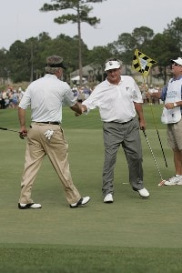 Bobby Wadkins is congratulated by John Harris after winning the Boeing Championship at Sandestin at Raven Golf Club in Destin, Florida on May 14, 2006.Photo by Michael Cohen/WireImage.com