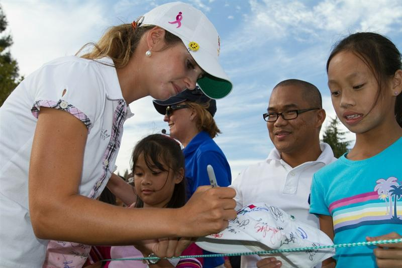 DANVILLE, CA - OCTOBER 16: Beatriz Recari of Spain signs autographs following the third round of the CVS/Pharmacy LPGA Challenge at Blackhawk Country Club on October 16, 2010 in Danville, California. (Photo by Darren Carroll/Getty Images)