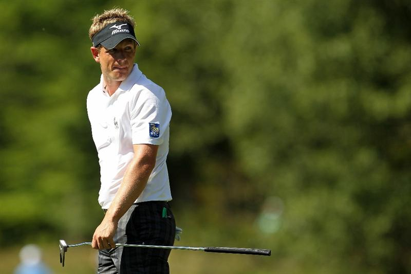 NORTON, MA - SEPTEMBER 04:  Luke Donald of England looks on on the fifth hole during the second round of the Deutsche Bank Championship at TPC Boston on September 4, 2010 in Norton, Massachusetts.  (Photo by Mike Ehrmann/Getty Images)