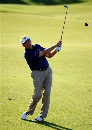 PALM COAST, FL - OCTOBER 30:  Ken Duke plays a shot on the 7th hole during the first round of the Ginn sur Mer Classic at the Conservatory Golf Club in Palm Coast, Florida on October 30, 2008.  (Photo by Sam Greenwood/Getty Images)