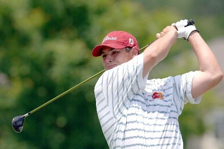 Johnson Wagner tees off during the Final Round of the Chattanooga Classic at Black Creek Club in Chattanooga, Tennessee on June 5, 2005.Photo by Joe Murphy/WireImage.com