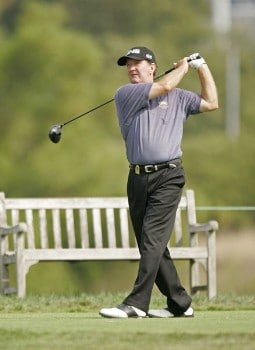 Bob Gilder on the 16th hole during the second round of the Constellation Energy Classic being held at Hayfields Country Club in Hunt Valley, Maryland on September 18, 2005. Gilder won the event finishing at -18 under par and takes home $255,000.Photo by Mike Ehrmann/WireImage.com