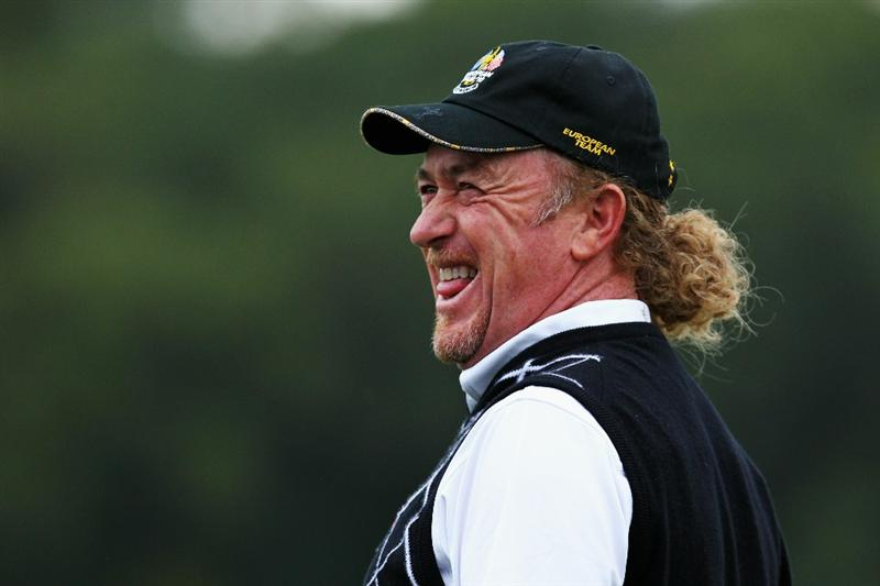 NEWPORT, WALES - OCTOBER 02:  Miguel Angel Jimenez of Europe smiles as he waits on a green during the  Fourball & Foursome Matches during the 2010 Ryder Cup at the Celtic Manor Resort on October 2, 2010 in Newport, Wales.  (Photo by Andy Lyons/Getty Images)