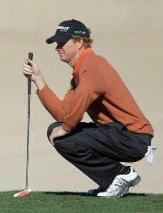 Tim Petrovic lines up his putt on the ninth hole during the second round of the 49th Bob Hope Chrysler Classic at the Silverrock Resort on January 17, 2008 in La Quinta, California. PGA TOUR - 2008 Bob Hope Chrysler Classic - Round TwoPhoto by Harry How/Getty Images