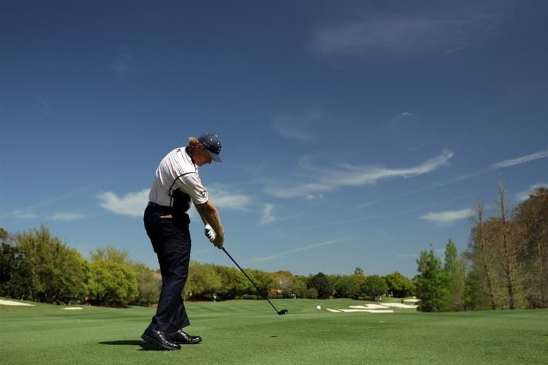 ORLANDO, FL - MARCH 14:  Ernie Els of South Africa and the Albany Club on the 3rd hole during the first day of the 2011 Tavistock Cup at Isleworth Golf Club on March 14, 2011 in Orlando, Florida.  (Photo by David Cannon/Getty Images)