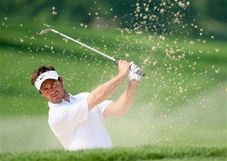 AKRON, OH - JULY 29:  Trevor Immelman of South Africa plays a bunker shot during practice for the World Golf Championship Bridgestone Invitational at Firestone Country Club July 29, 2008 in Akron, Ohio.  (Photo by Stuart Franklin/Getty Images)