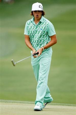 CHARLOTTE, NC - MAY 1:  Rickie Fowler celebrates his birdie putt on the 18th green during the third round of the 2010 Quail Hollow Championship at the Quail Hollow Club on May 1, 2010 in Charlotte, North Carolina.  (Photo by Scott Halleran/Getty Images)