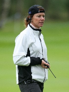 HALMSTAD, SWEDEN - SEPTEMBER 12:  European Team Captain Helen Alfredsson watches the play during practice prior to the start of the Solheim Cup at Halmstad Golf Club on September 12, 2007 in Halmstad, Sweden.  (Photo by Andy Lyons/Getty Images)