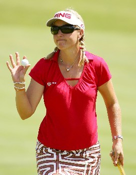 NEW ROCHELLE, NY - JULY 21:  Carin Koch of Sweden waives to the crowd on the 18th hole during the third round of the HSBC Women's World Match Play at Wykagyl Country Club on July 21, 2007 in New Rochelle, New York. (Photo by Sam Greenwood/Getty Images)