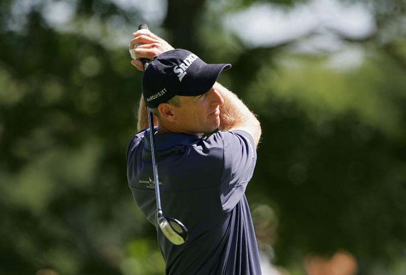 NORTON, MA - SEPTEMBER 01:  Jim Furyk watches his drive on the first hole during the final  round of the Deutsche Bank Championship at TPC of Boston held on September 1, 2008 in Norton, Massachusetts.  (Photo by Michael Cohen/Getty Images)