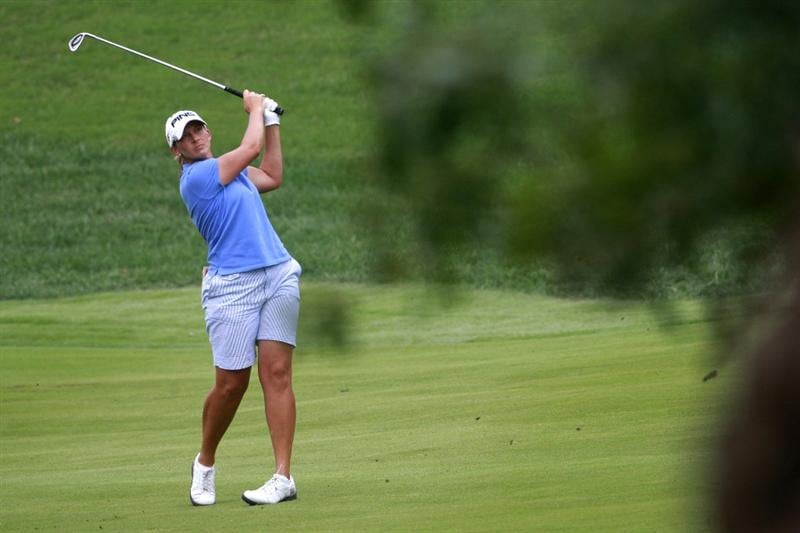 ROGERS, AR - SEPTEMBER 13:  Angela Stanford watches her eagle approach shot to the second hole during final round play in the P&G Beauty NW Arkansas Championship at the Pinnacle Country Club on September 13, 2009 in Rogers, Arkansas.   (Photo by Dave Martin/Getty Images)