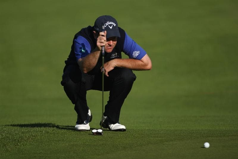 LUSS, SCOTLAND - JULY 09:  Alastair Forsyth of Scotland lines up a putt on the 11th green during the First Round of The Barclays Scottish Open at Loch Lomond Golf Club on July 09, 2009 in Luss, Scotland.  (Photo by Andrew Redington/Getty Images)