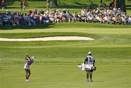 ROCHESTER, NY - JUNE 21: Natalie Gulbis hits her second shot on the 2nd hole during the third round of the Wegmans LPGA at Locust Hill Country Club on June 21, 2008 in Rochester, New York. (Photo by Hunter Martin/Getty Images)