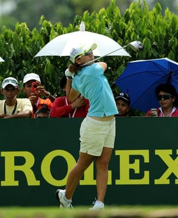 KUALA LUMPUR, MALAYSIA - OCTOBER 23 : Mika Miyazato of Japan tees off on the 10th hole during Round Two of the Sime Darby LPGA on October 23, 2010 at the Kuala Lumpur Golf and Country Club in Kuala Lumpur, Malaysia. (Photo by Stanley Chou/Getty Images)