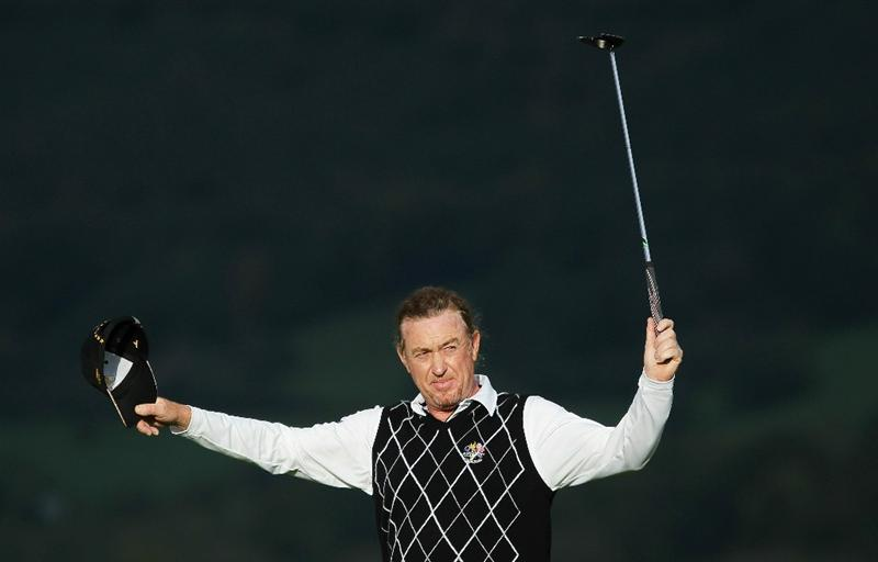 NEWPORT, WALES - OCTOBER 03:  Miguel Angel Jimenez of Europe celebrates on the 17th green during the  Fourball & Foursome Matches during the 2010 Ryder Cup at the Celtic Manor Resort on October 3, 2010 in Newport, Wales.  (Photo by Jamie Squire/Getty Images)