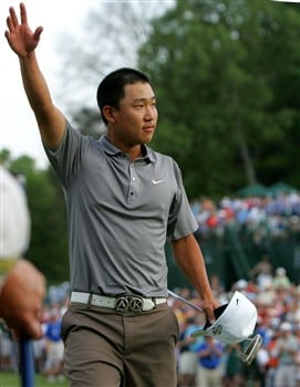 CHARLOTTE, NC - MAY 04:  Anthony Kim waves to the crowd on the 18th hole after winning the Wachovia Championship at Quail Hollow Country Club on May 4, 2008 in Charlotte, North Carolina.  (Photo by Streeter Lecka/Getty Images)