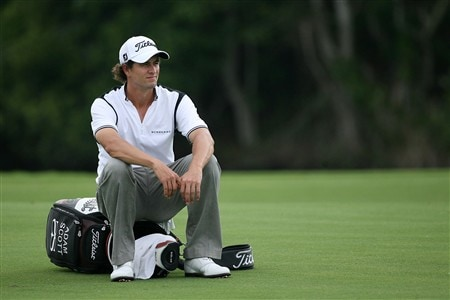 PONTE VEDRA BEACH, FL - MAY 09:  Adam Scott of Australia sits on his bag and rests on the 14th hole during the second round of the THE PLAYERS Championship on THE PLAYERS Stadium Course at TPC Sawgrass on May 9, 2008 in Ponte Vedra Beach, Florida.  (Photo by Andy Lyons/Getty Images)